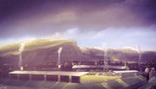 Easter Road Skyline from Leith  20'' x 30'' Box Canvas Print